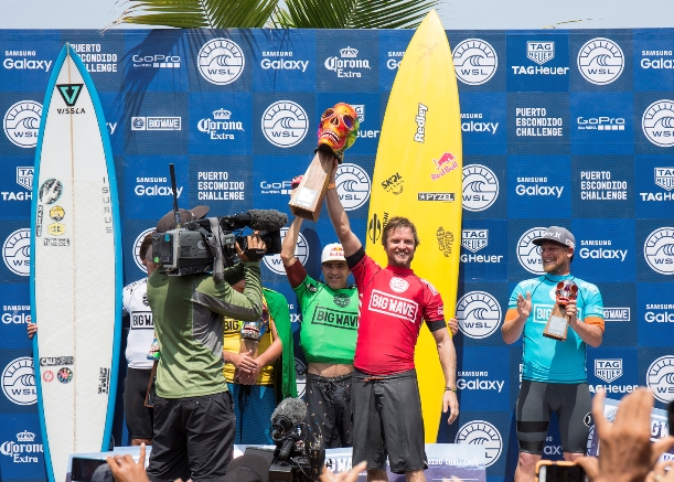 "Grant ""Twiggy"" Baker (Durban, ZAF) celebrates on the podium after winning the Puerto Escondido Challenge before going on to claim the 2016/17 WSL Big Wave Tour title  Photo: WSL / Heff"