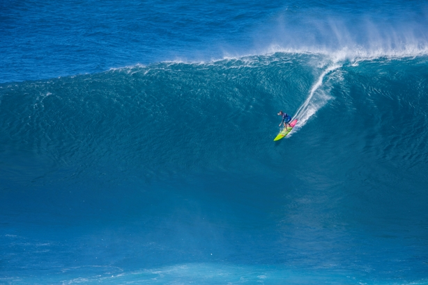 Paige Alms (HAW) took on massive waves at the 2016 Pe'ahi Challenge to make history as the first ever Big Wave Women's Champion  Photo: WSL / Heff