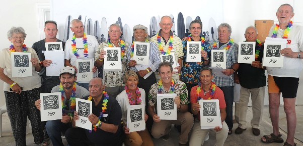 Surfer's Circle Walk of Fame inductees with their commemorative certificates at the official opening of South Africa's first national monument to surfing Photo: SCWOF