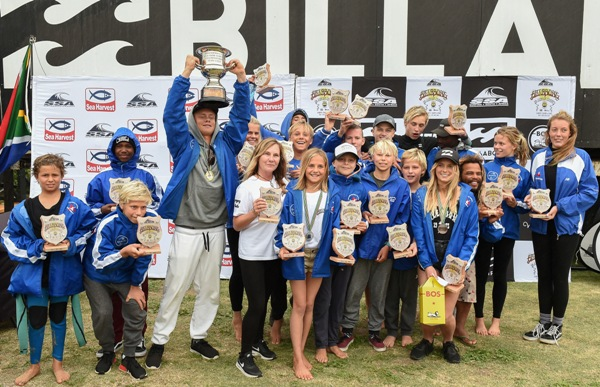 Cape Town Surfriders team celebrate winning the Freedom Cup by the narrowest margin in 21 years at the Billabong SA Junior Champs pres. by BOS at Jeffreys Bay on Sunday Photo: Billabong / McGregor